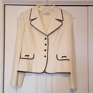 Tahari cream blazer with black lace trim size 10